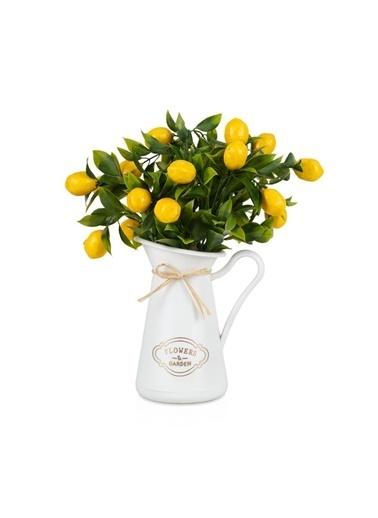 Çiçekmisin Italyan Style Flowers Garden Saksıda Limon Demet Yapay Bitki Beyaz